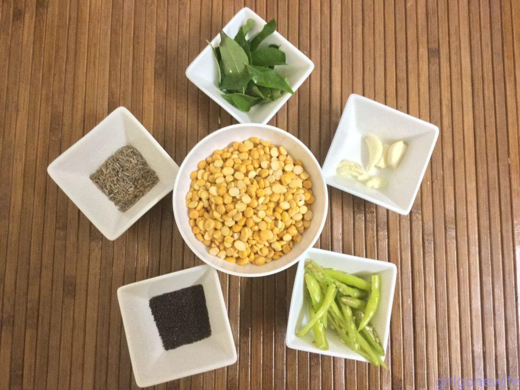Ingredients to make Bengal gram chutney
